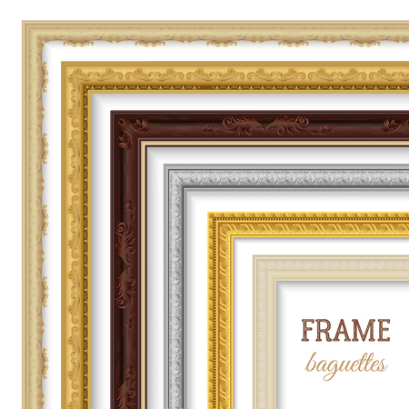 rectangular: Frame baguettes realistic set for paintings and pictures isolated vector illustration Illustration