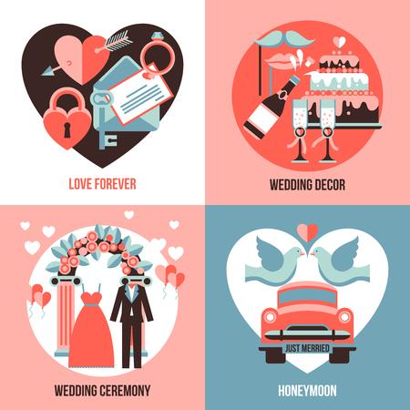 wedding decor: Love forever honeymoon wedding ceremony and wedding decor abstract compositions flat 2x2 set vector illustration