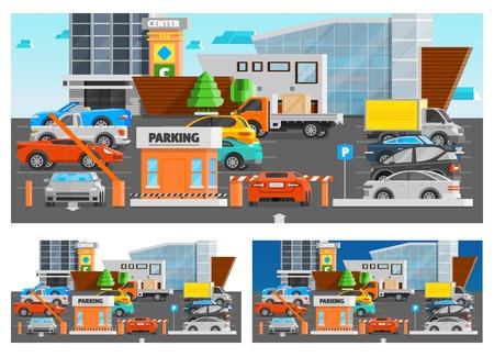 Winkelcentrum parking orthogonale composities set met auto's en vrachtwagens vlakke geïsoleerde vector illustratie