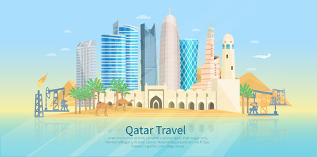 drilling rig: Qatar skyline flat poster with modern buildings camels and oil drilling rig vector illustration