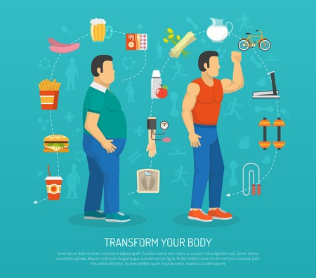 overeating: Color illustration transformation body man with obesity by workout and diet vector illustration Illustration