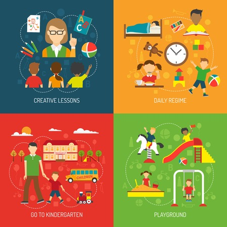 playschool: Creative lessons daily regime go to kindergarten and playground 2x2 concept flat vector illustration