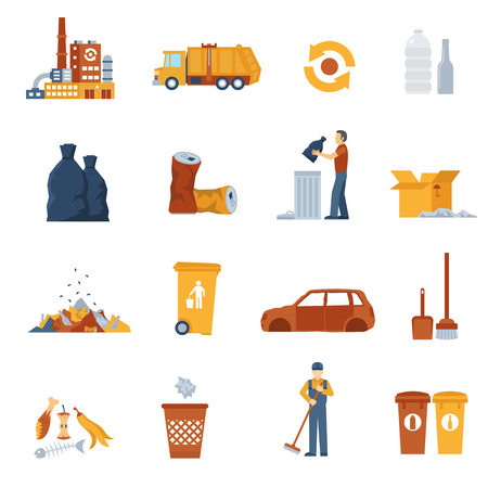 garbage collection: Concept icons set about garbage collection and disposal vector illustration