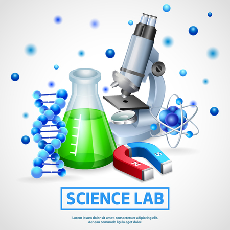 reagent: Scientific laboratory realistic design concept with microscope model of dna molecule and flask with chemical reagent vector illustration