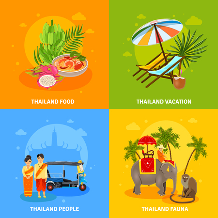 thailand food: Thailand concept flat icons with food recreation people and fauna of the country vector illustration