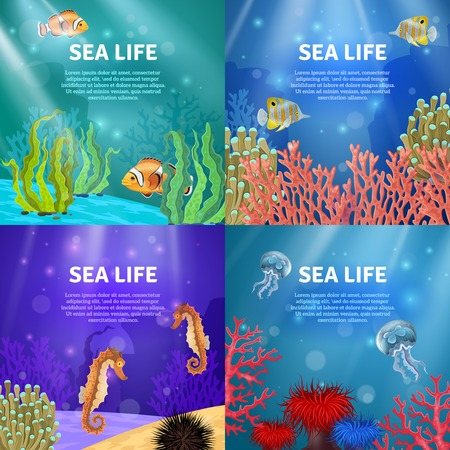 Variants of underwater landscape with different colors and animals vector illustration