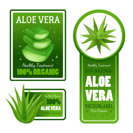 Pure organico naturale aloe vera foglie verdi sani striscioni etichette trattamento con il testo set isolato illustrazione vettoriale realistico
