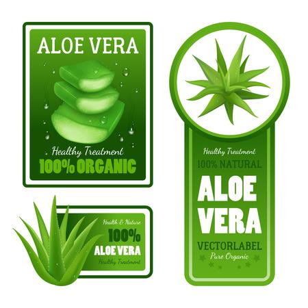 Puur organische natuurlijke groene aloë vera bladeren gezonde behandeling label banners met geïsoleerde tekst set realistische vector illustratie