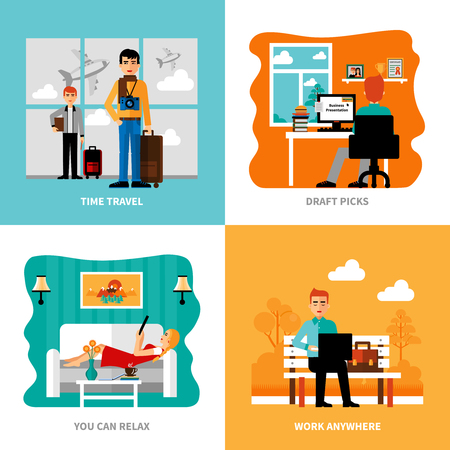 abroad: Preferences of freelance set with concepts of work relaxation pick of drafts travel isolated vector  illustration