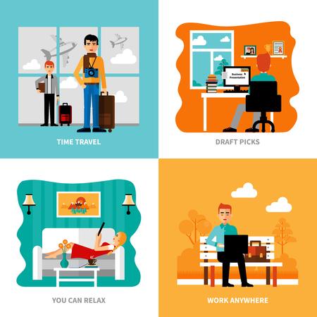 Voorkeuren van freelance set met concepten van het werk ontspanning keuze uit tocht reizen geïsoleerde vector illustratie