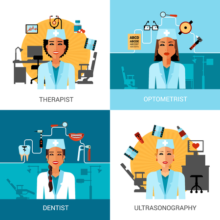 optometrist: Medical workers concept set with avatar of therapist dentist optometrist isolated vector illustration