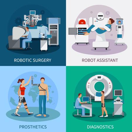 concepto de diseño 2x2 biónica con la cirugía robótica de equipos de diagnóstico prótesis ortopédicas composiciones ilustración vectorial plana