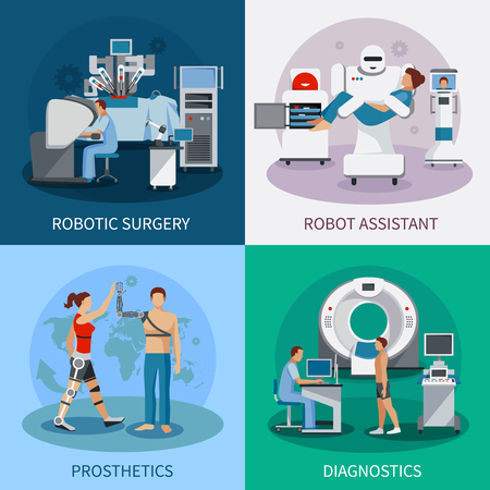 Bionic 2x2 design concept with robotic surgery  diagnostic equipment orthopedic prosthetics compositions flat vector illustration