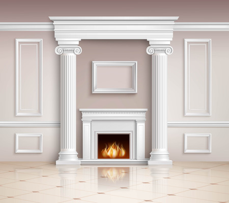 classic house: Classic Interior With Fireplace. Classic Interior Illustration. Interior Realistic Design. Classic Room Vector Illustration. Classic Interior Background. Classic Style Illustration.