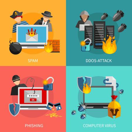 cuenta bancaria: Hacker 2x2 concepto de diseño plano con el spam phishing ataque DDoS y virus informáticos amenazas para los iconos de los sistemas informáticos composiciones ilustración vectorial