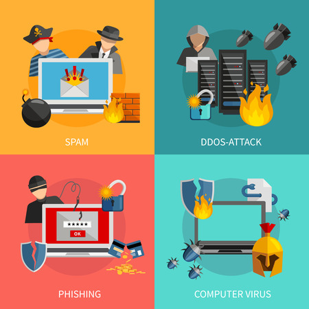threats: Hacker 2x2 flat design concept with spam phishing ddos attack and computer viruses threats for computer systems icons compositions vector illustration