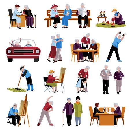 actividad fisica: Personas mayores de conjunto de iconos. Ilustración del vector de edad avanzada Personas. La gente mayor aislada iconos. Las personas ancianas Símbolos. Las personas de edad avanzada Conjunto decorativo. Las personas de edad avanzada Ilustración plana.