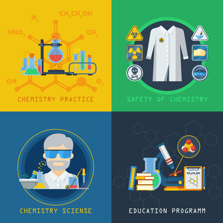 Chemistry 2x2 design concept set with laboratory equipment education program practical experiment and safety flat vector illustration