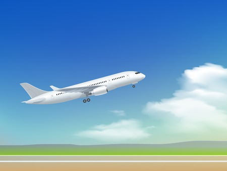 White plane off the ground take off poster on the background of clouds and sky runway vector illustration