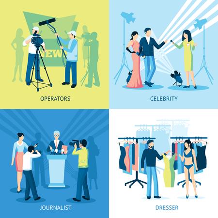 pressman: Pressman and journalist concept icon set  interview dresser operator vector illustration