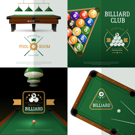 pool cue: Billiards realistic concept icons set with club and pool room symbols isolated vector illustration