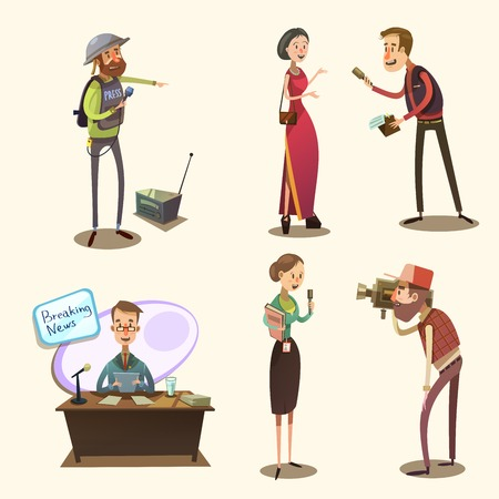 interviewer: Journalist characters retro cartoon set with reporter camera man and interviewer isolated vector illustration Illustration