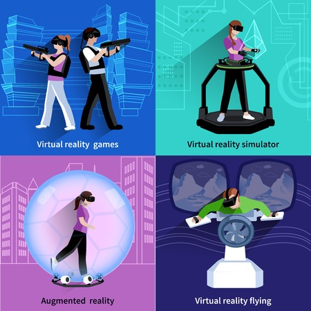 virtual reality simulator: Virtual reality flying simulator 4 flat icons square with games and sport activities abstract isolated vector illustration