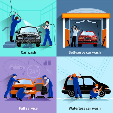 waterless: Car wash center full and self service facilities 4 flat icons square composition abstract vector isolated illustration