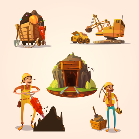 gold shovel: Mining concept set with retro cartoon style labor workers cartoon style isolated vector illustration