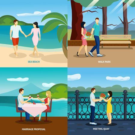 parejas romanticas: La gente se enamora conjunto plana con parejas románticas a salir al aire libre ilustración vectorial