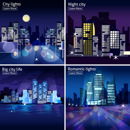 bright lights: Four icon set with night cityscapes and lights in modern style isolated vector illustration