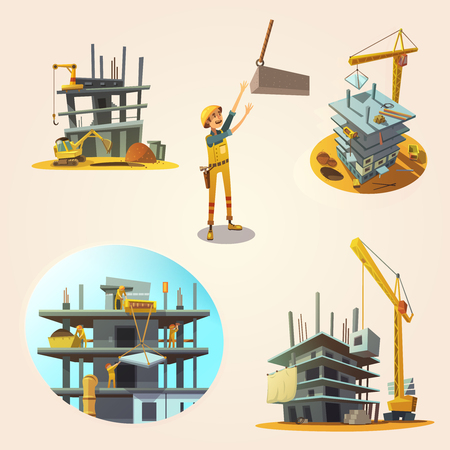 Construction concept set with building process retro cartoon icons isolated vector illustration
