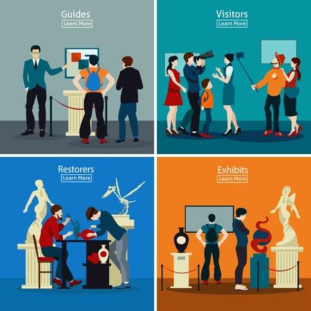 La gente en el museo y galería de 2x2 concepto de diseño con exposiciones restauradores guías y visitantes ilustración vectorial plana Ilustración de vector