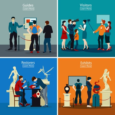 archaeological: People in museum and gallery 2x2 design concept with exhibits restorers guides and visitors flat vector illustration