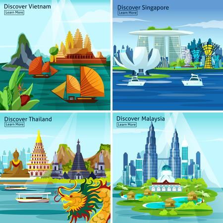 Asian Reise 2x2 Design-Konzept mit vietnam thailand Singapur und Malaysia bunte Landschaftskompositionen flach Vektor-Illustration