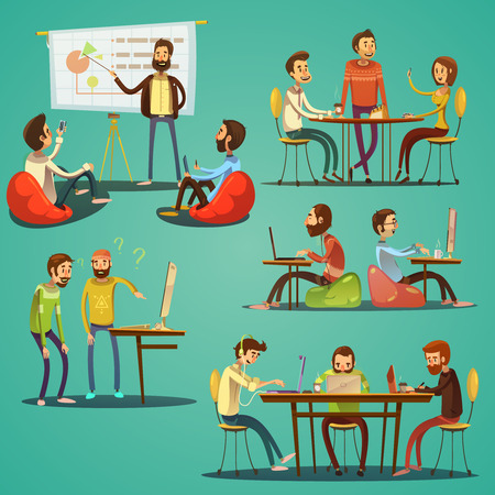 freelancers: Coworking retro cartoon set with freelancers working in creative space isolated vector illustration