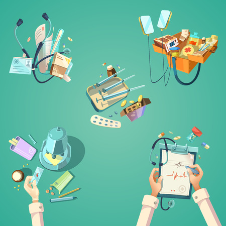 squirt: Medical cartoon retro set with different first aid hospital tools isolated vector illustration Illustration
