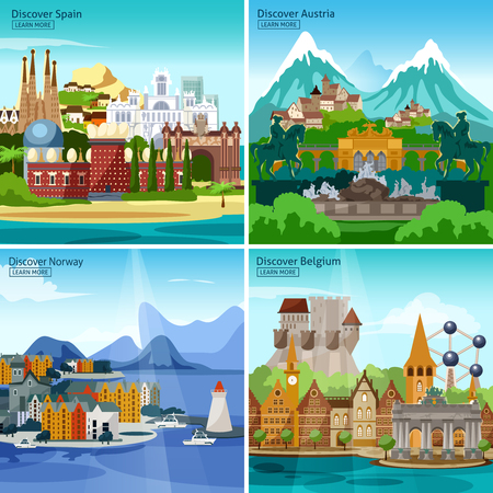 european alps: European Touristic Icon Set with historical monuments and sights of Spain Austria Norway and Belgium vector illustration