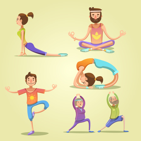 men and women: Yoga retro cartoon set with men and women in different poses isolated vector illustration Illustration