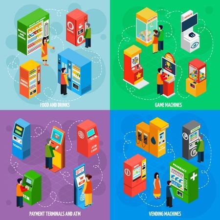 ilustración vectorial Alimentos y bebidas máquinas con terminales de pago automatizados de autoservicio 4 iconos isométricos expendedoras cuadrado aislado
