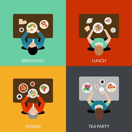 Flat icon set met mensen eten met verschillende varianten van de maaltijd bovenaanzicht vector illustratie