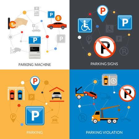 disabled parking sign: Icon isolated flat conceptual parking set with different aspects of parking process vector illustration