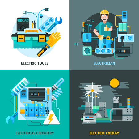 electricity export: Electricity concept icons set with electric tools and energy symbols flat isolated vector illustration Illustration