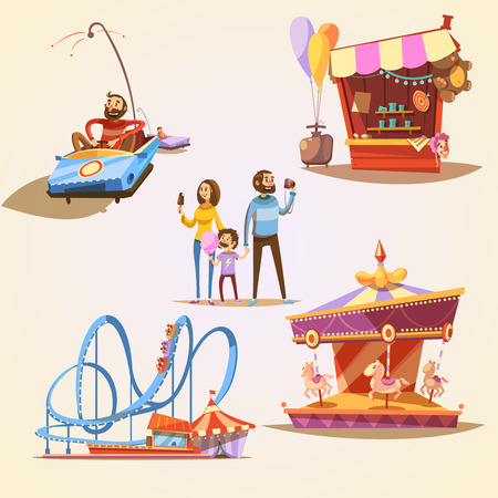 rollercoaster: Amusement park cartoon set with retro style attractions isolated vector illustration