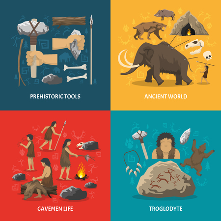troglodyte: Color flat composition with title depicting prehistoric tools caveman life ancient world troglodyte isolated vector illustration Illustration