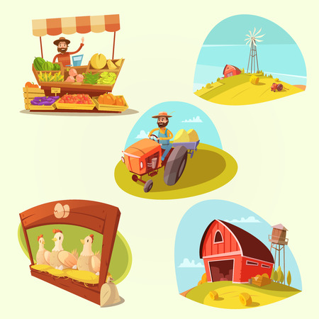 Farm cartoon set with farmer and products on yellow  background isolated vector illustration Vettoriali