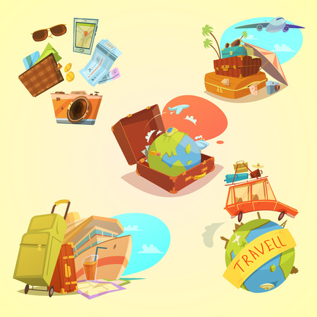 sunbathing: Travel cartoon set with map luggage and transport symbols on yellow background  isolated vector illustration Illustration