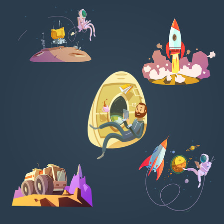 Space cartoon set with spaceship cosmonaut and planet isolated vector illustration Illustration