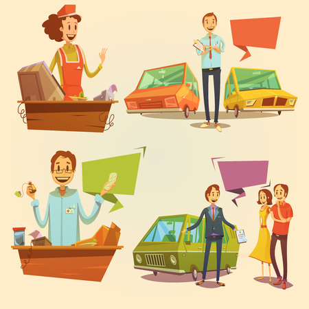 dealer: Salesman retro cartoon set with car dealer and pharmacy salesman isolated vector illustration