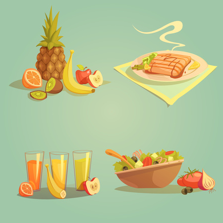 fruit salad: Healthy food and drinks cartoon set with fruit juice and salad isolated vector illustration